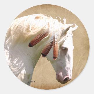 White War Horse Classic Round Sticker