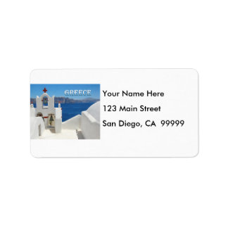 White Washed Church Blue Sky and Sea in Santorini Label