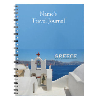 White Washed Church Blue Sky and Sea in Santorini Spiral Notebooks