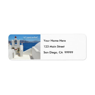 White Washed Church Blue SkY & Sea TEXT Santorini Label