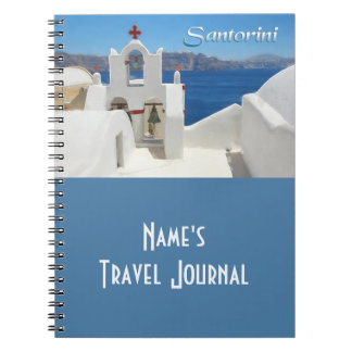 White Washed Church Blue SkY & Sea TEXT Santorini Notebooks