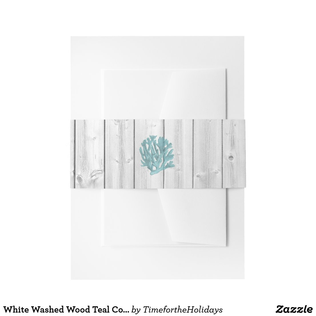 White Washed Wood Teal Coral Beach Wedding Band Invitation Belly Band