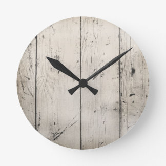 WHITE-WASHED WOOD TEXTURED GRAIN BACKGROUNDS WALLP ROUND CLOCK