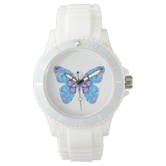 White Watch with Fantasy Blue Butterfly