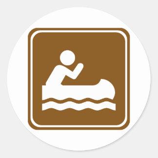 White Water Canoeing  Highway Sign Classic Round Sticker