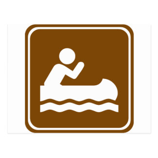 White Water Canoeing  Highway Sign Postcard