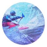 White Water Kayaker Classic Round Sticker