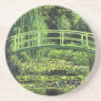 White Water Lilies by Monet, Vintage Impressionism Beverage Coaster