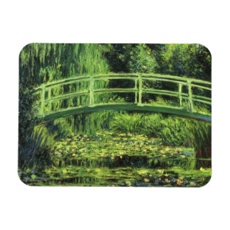 White Water Lilies by Monet, Vintage Impressionism Rectangular Photo Magnet