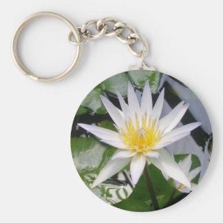 White Water Lily Basic Round Button Keychain