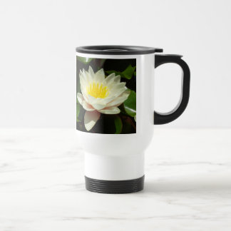 White Water Lily Flower 15 Oz Stainless Steel Travel Mug
