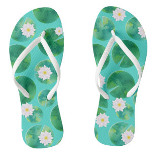 7d049546a14358 White Water Lily Flowers   Lily Pad Pattern Flip Flops