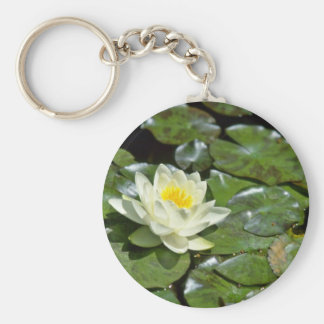 White Water Lily On Pads flowers Key Chains