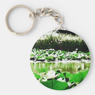 White Water Lotus Basic Round Button Keychain