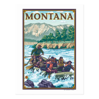 White Water Rafting - Montana Postcard
