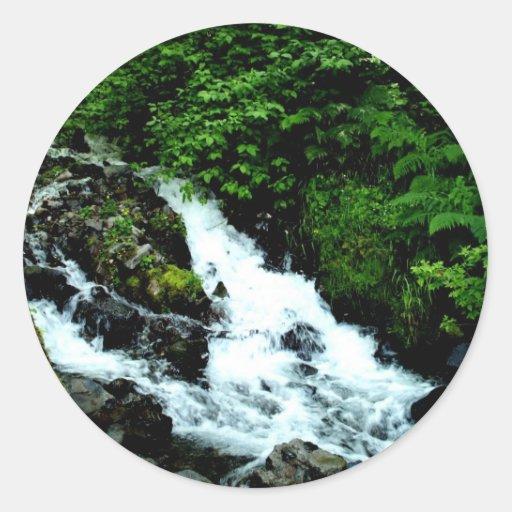 White Water Round Sticker