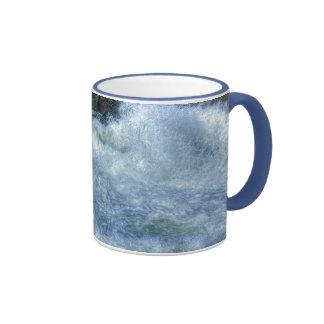 White Water Rushing River Nature Scene Ringer Mug