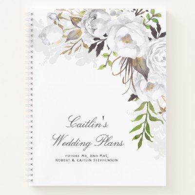 White Watercolor Flowers Elegant Wedding Plan Notebook