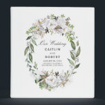 "White Watercolor Flowers Wedding 3 Ring Binder<br><div class=""desc"">White floral greenery wreath wedding binder</div>"