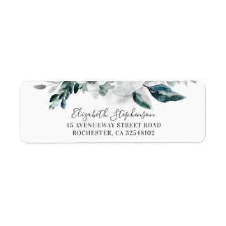 White Watercolor Flowers Wedding Label