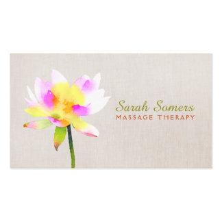 White Watercolor Lotus Holistic NaturalHealth Spa Business Card