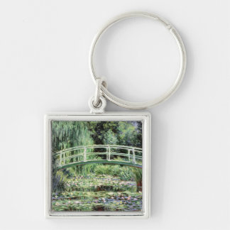 White Waterlilies, 1899 Silver-Colored Square Keychain
