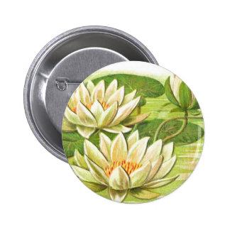 White Waterlilies 2 Inch Round Button