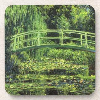 White Waterlilies by Claude Monet, Vintage Art Drink Coaster