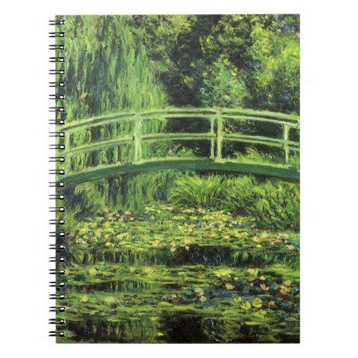White Waterlilies by Claude Monet, Vintage Art Spiral Notebook