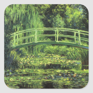 White Waterlilies by Claude Monet, Vintage Art Square Sticker