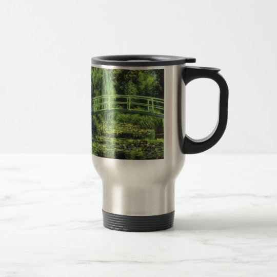 White Waterlilies by Claude Monet, Vintage Art Travel Mug