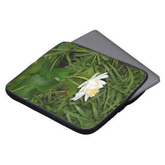 White Waterlilies flowers & Lilypads Laptop Sleeve