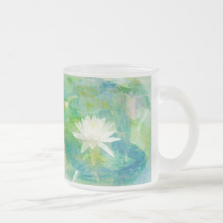 White Waterlily Blossom 10 Oz Frosted Glass Coffee Mug