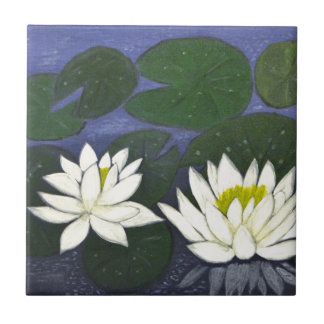 White Waterlily Flowers, Acrylic painting Tile