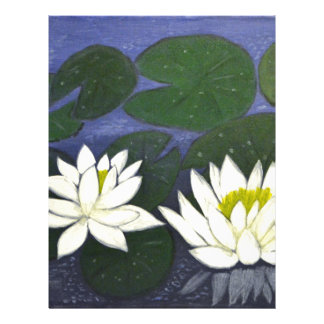 White Waterlily Flowers in a Pond. Letterhead