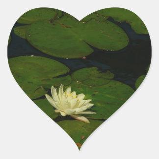 White Waterlily Heart Sticker