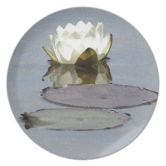 White waterlily melamine plate