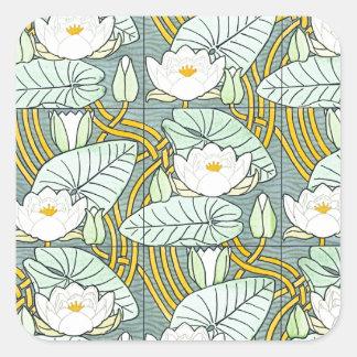 White Waterlily Square Sticker