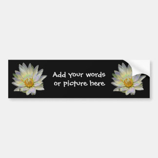White waterlily with enamel special effect bumper sticker