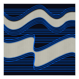 White Wave Fabric Blue Neon lines Image Print