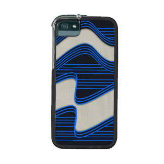 White Wave Fabric Blue Neon lines Image Print iPhone 5 Case