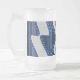 White Wave Fabric Blue Neon lines Image Print Frosted Glass Beer Mug