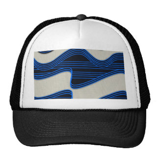 White Wave Fabric Blue Neon lines Image Print Trucker Hat
