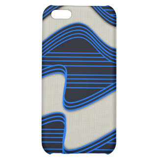 White Wave Fabric Blue Neon lines Image Print Cover For iPhone 5C