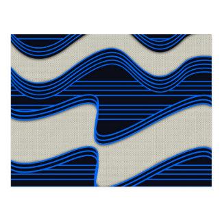 White Wave Fabric Blue Neon lines Image Print Postcard