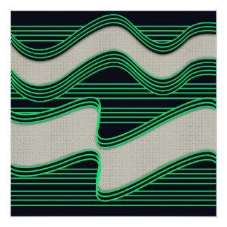 White Wave Fabric Green Neon lines Image Print