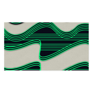 White Wave Fabric Green Neon lines Image Print Double-Sided Standard Business Cards (Pack Of 100)