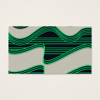 White Wave Fabric Green Neon lines Image Print Business Card