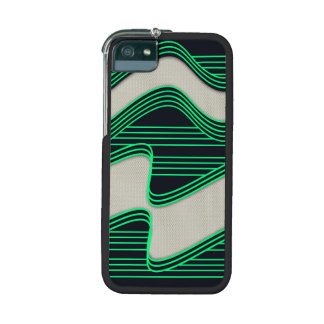 White Wave Fabric Green Neon lines Image Print Case For iPhone 5