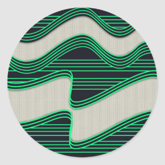 White Wave Fabric Green Neon lines Image Print Classic Round Sticker